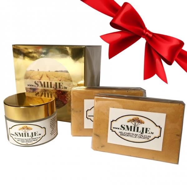 3 gift set anti aging cream helichrysum italicum immortelle soap essential oil smilje croatia copy